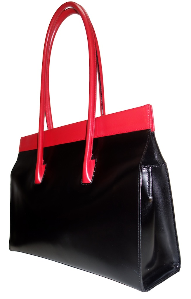 Lederer De Paris Large Black Red Handbag