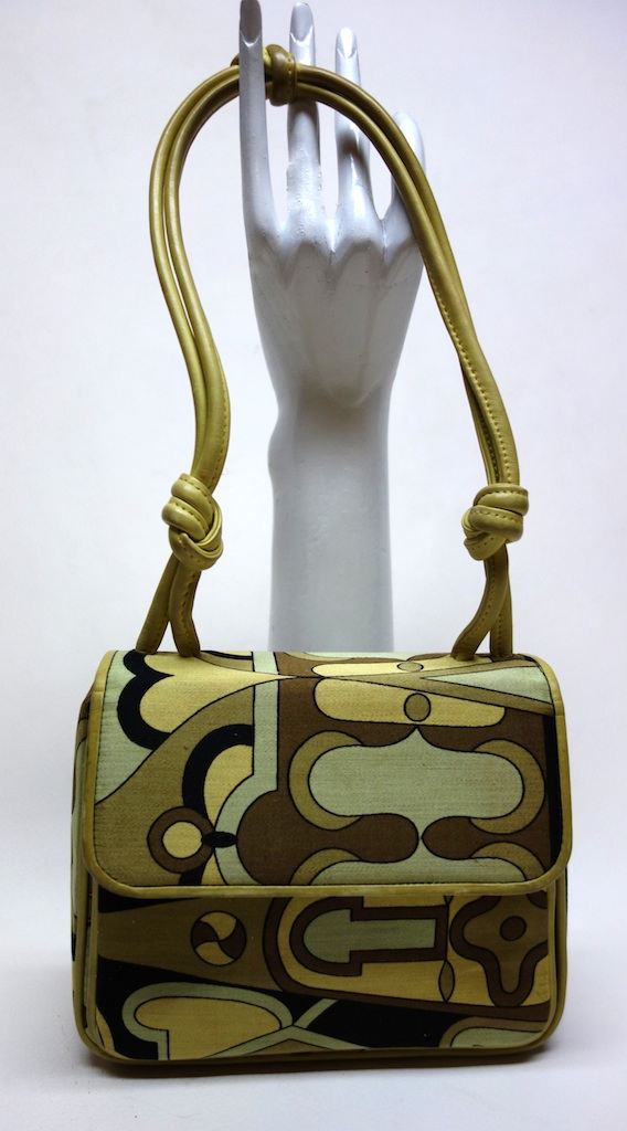 87d469fa30bd Vintage 60s KORET Pucciesque Silk   Leather Handbag